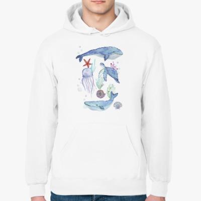 Толстовка худи Акварельный подводный мир