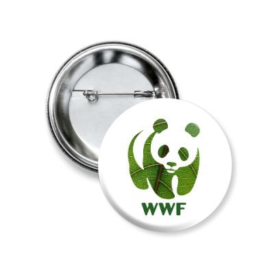 Значок 37мм WWF. Панда. Зеленый лист