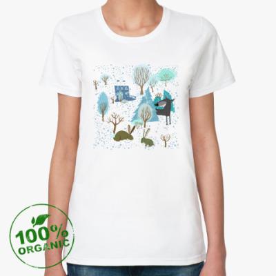 Женская футболка из органик-хлопка 'Волк зимой...'