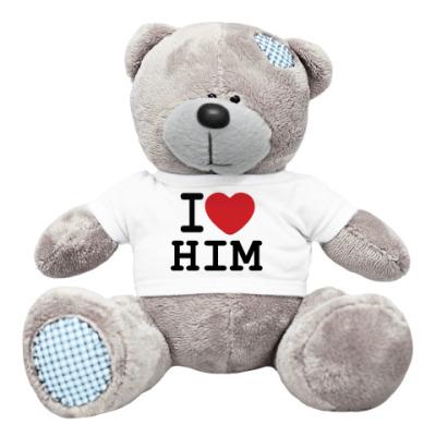 Плюшевый мишка Тедди Романтичный принт I LOVE HIM