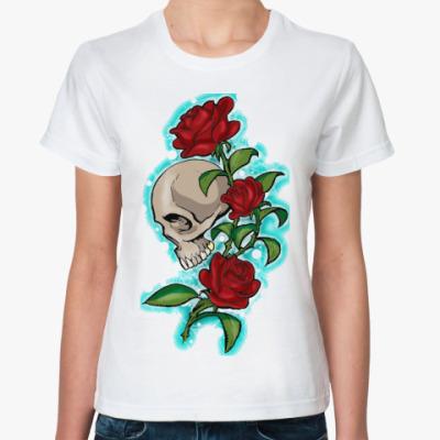 Классическая футболка череп и розы