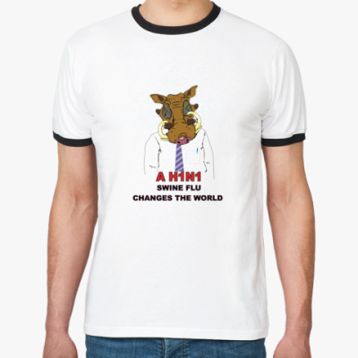 Футболка Ringer-T  (бел/чёрн) СВИН