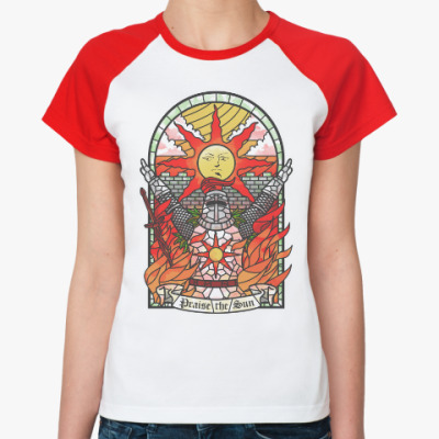 Женская футболка реглан Dark Souls Praise the sun