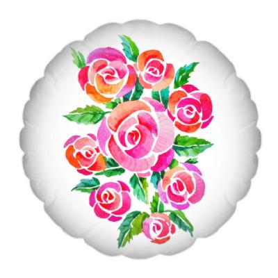 Подушка Акварельные розы