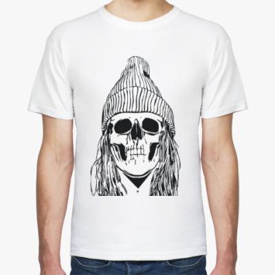 Футболка Женский череп в шапке