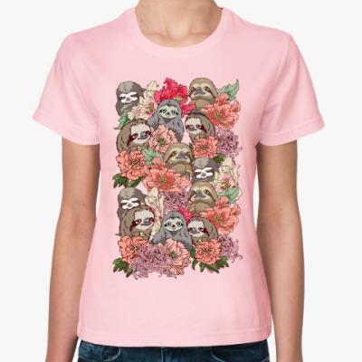 Женская футболка Ленивцы в цветах