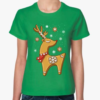 Женская футболка Пряничный олень