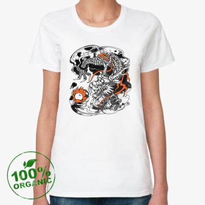 Женская футболка из органик-хлопка Дракон с жемчужиной