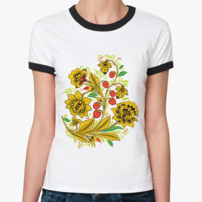 Женская футболка Ringer-T   'Золотой куст'