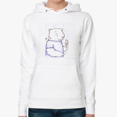 Женская толстовка худи Медведь с мороженым