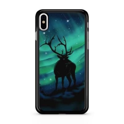 Чехол для iPhone Северное сияние и олень