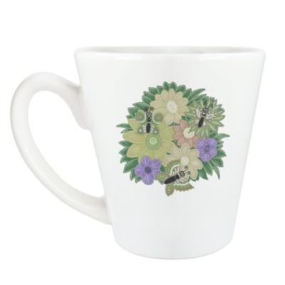 Чашка Латте Бабочки, цветочки