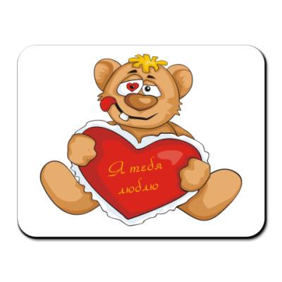 Коврик для мыши Медведь и сердце