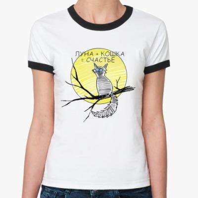 Женская футболка Ringer-T Луна плюс кошка