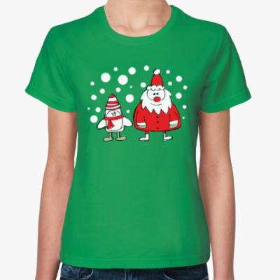 Женская футболка Дед Мороз и Пингвин