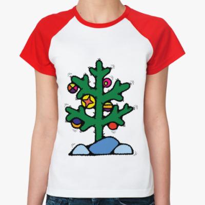 Женская футболка реглан Нестандартная елочка