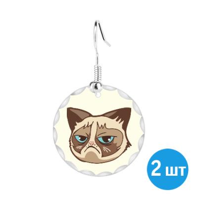 Серьги Угрюмый кот Тард - Grumpy Cat