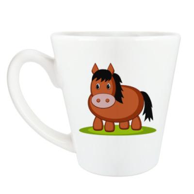 Чашка Латте Лошадь на лугу