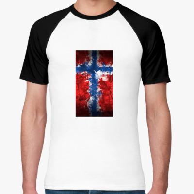 Футболка реглан Норвежский флаг