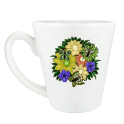 Чашка Латте Цветы и бабочки