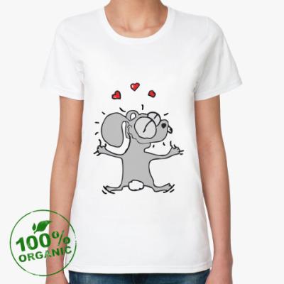 Женская футболка из органик-хлопка Влюбленный кролик