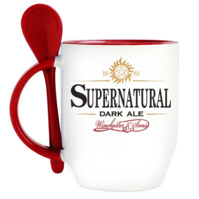 Кружка с ложкой Supernatural - Темный эль