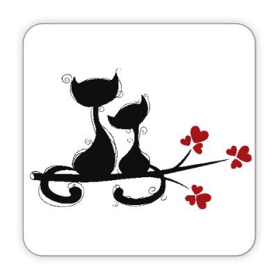 Костер (подставка под кружку) Любовь и кошки