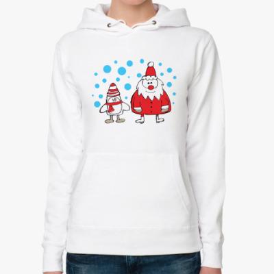 Женская толстовка худи Дед Мороз и Пингвин