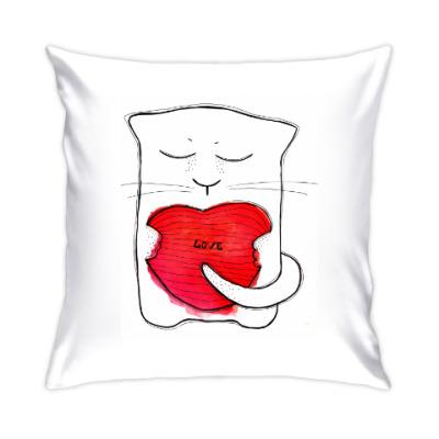 Подушка У котика любовь