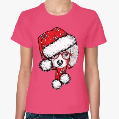 Женская футболка Собака Санта