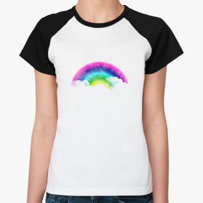 Женская футболка реглан Радужное счастье!