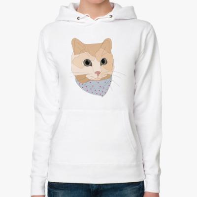 Женская толстовка худи Песочный кот