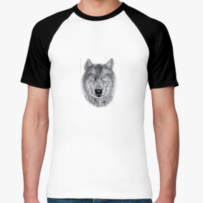 Футболка реглан волк