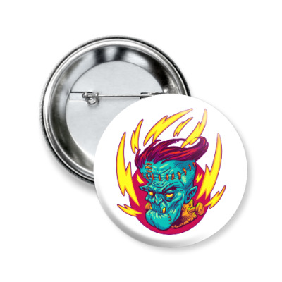 Значок 50мм Франкенштейн в огне