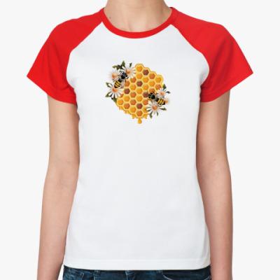 Женская футболка реглан Пчелы и соты