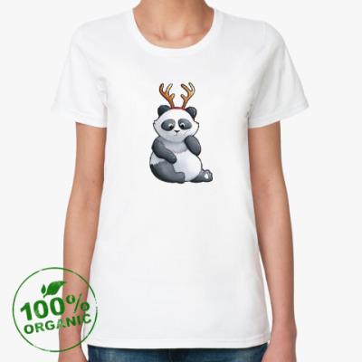 Женская футболка из органик-хлопка WWF. Панда-олень ))