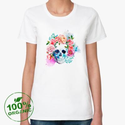 Женская футболка из органик-хлопка Череп цветы