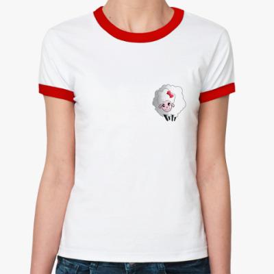 Женская футболка Ringer-T овечка  с бантиком