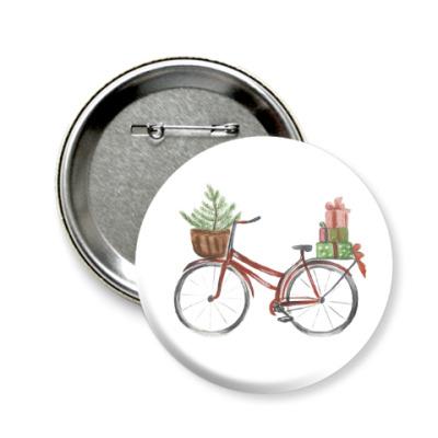 Значок 58мм рождественский велосипед
