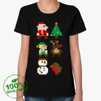 Женская футболка из органик-хлопка 8bit New Year Новый Год 8 бит