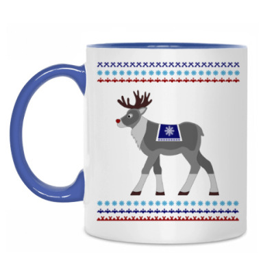 Кружка Reindeer and Nordic pattern ornament