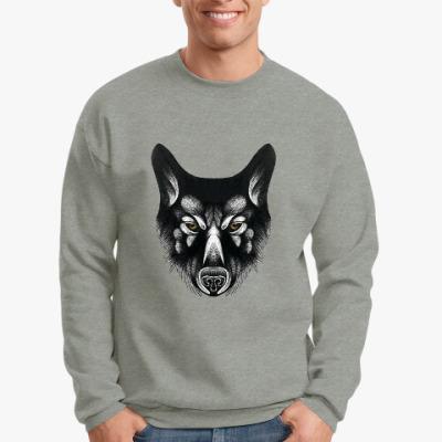 Свитшот Черный волк злой взгляд