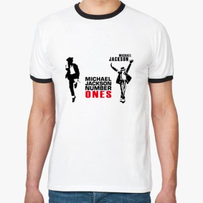 Футболка Ringer-T майкл джексон, michael jackson