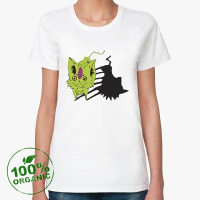 Женская футболка из органик-хлопка  Кот зелёный