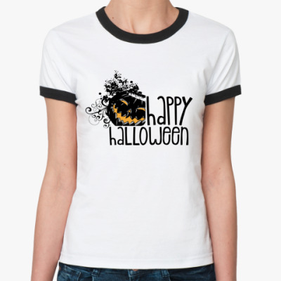 Женская футболка Ringer-T  Happy Halloween