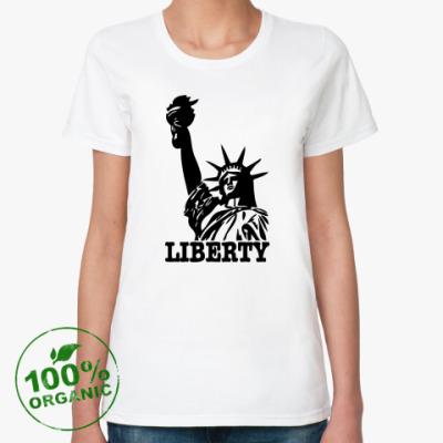 Женская футболка из органик-хлопка Статуя Свободы-надпись Liberty