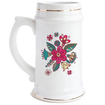 Пивная кружка Цветы