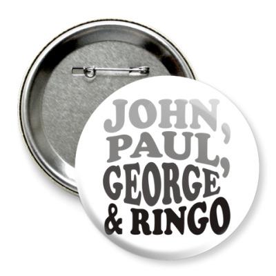 Значок 75мм  John.Paul.George&Ringо