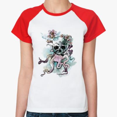Женская футболка реглан Череп-кальмар