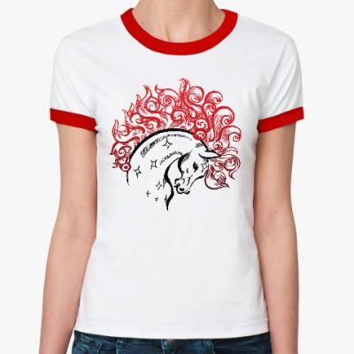 Женская футболка Ringer-T Конь-огонь
